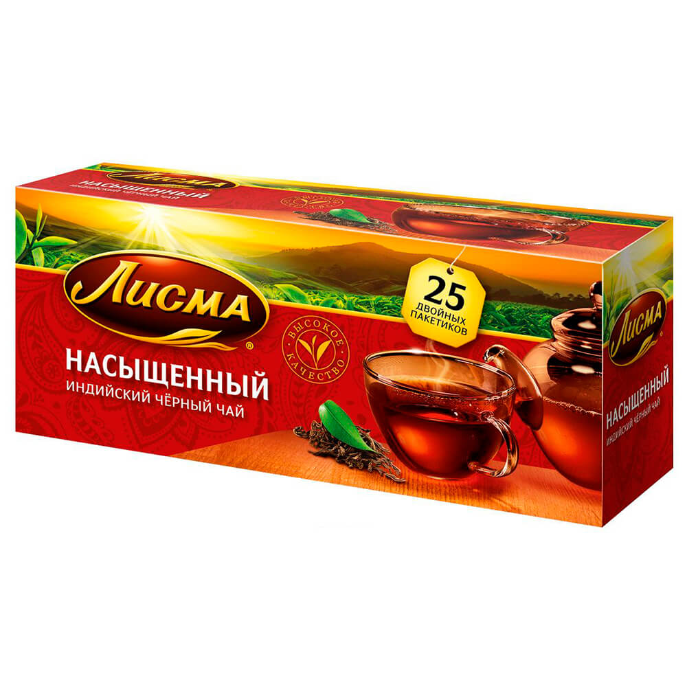 Чай черный Лисма насыщенный байховый 25 пакетиков по 2г brooke bond чай черный brooke bond насыщенный 25 пакетиков