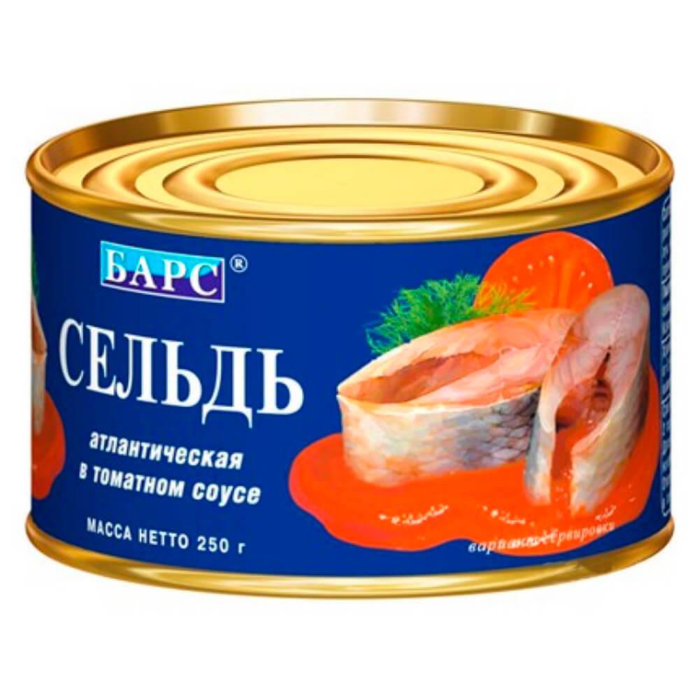 Сельдь атлантическая Барс натуральная в томатном соку 250г недорого