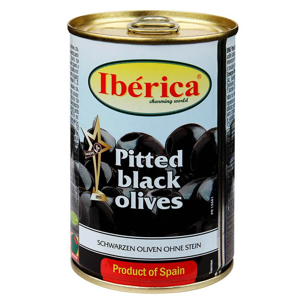 Маслины крупные чёрные Iberica без косточек 420г
