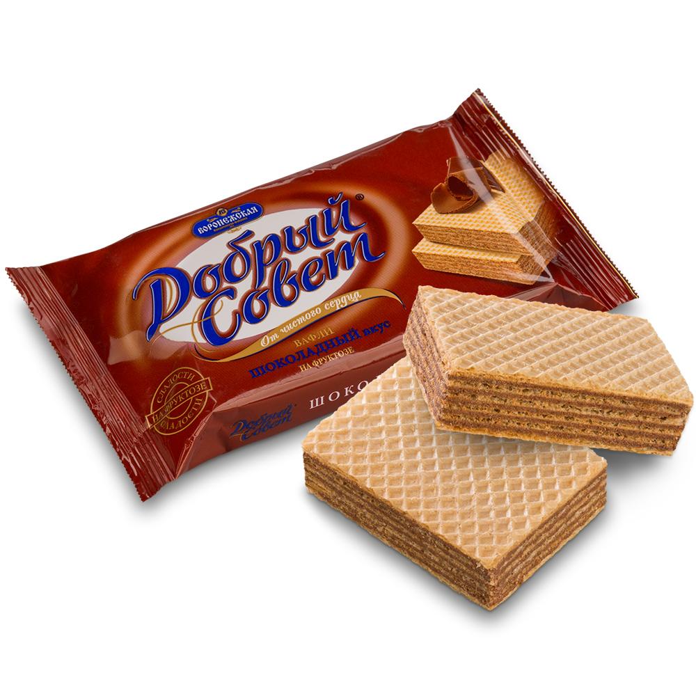 Вафли Добрый Совет 73г шоколадные на фруктозе диабетические