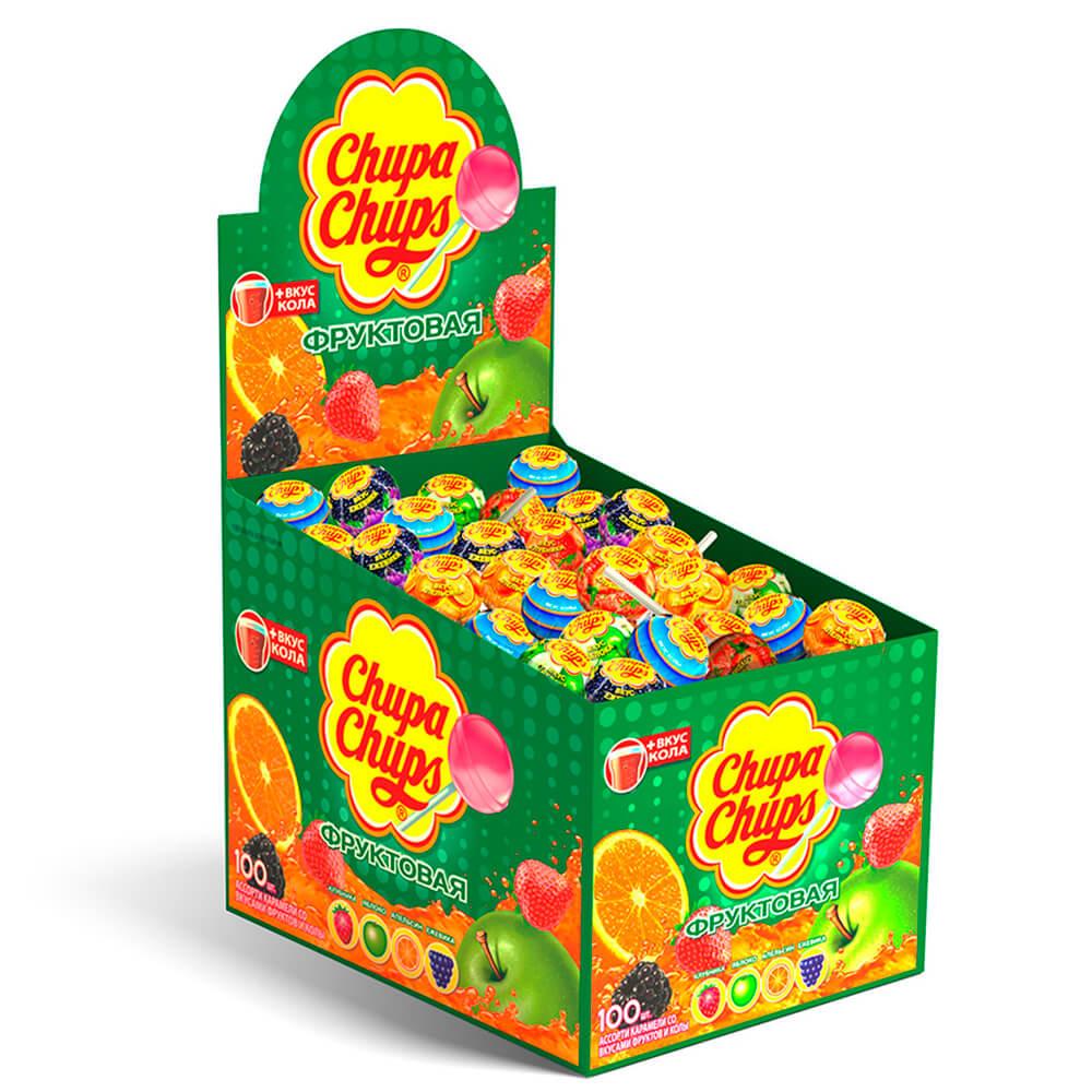 Карамель фруктовое ассорти Chupa-Chups с соком 12г