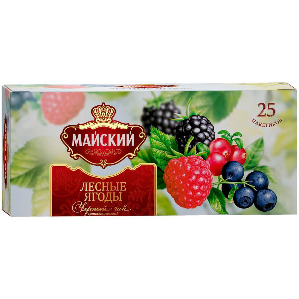 Фото - Чай чёрный Майский Любимый ВКУС Лесные Ягоды байховый с ароматом лесных ягод высший сорт в пакетиках чай майский лесные ягоды черный с добавками 25 пакетиков