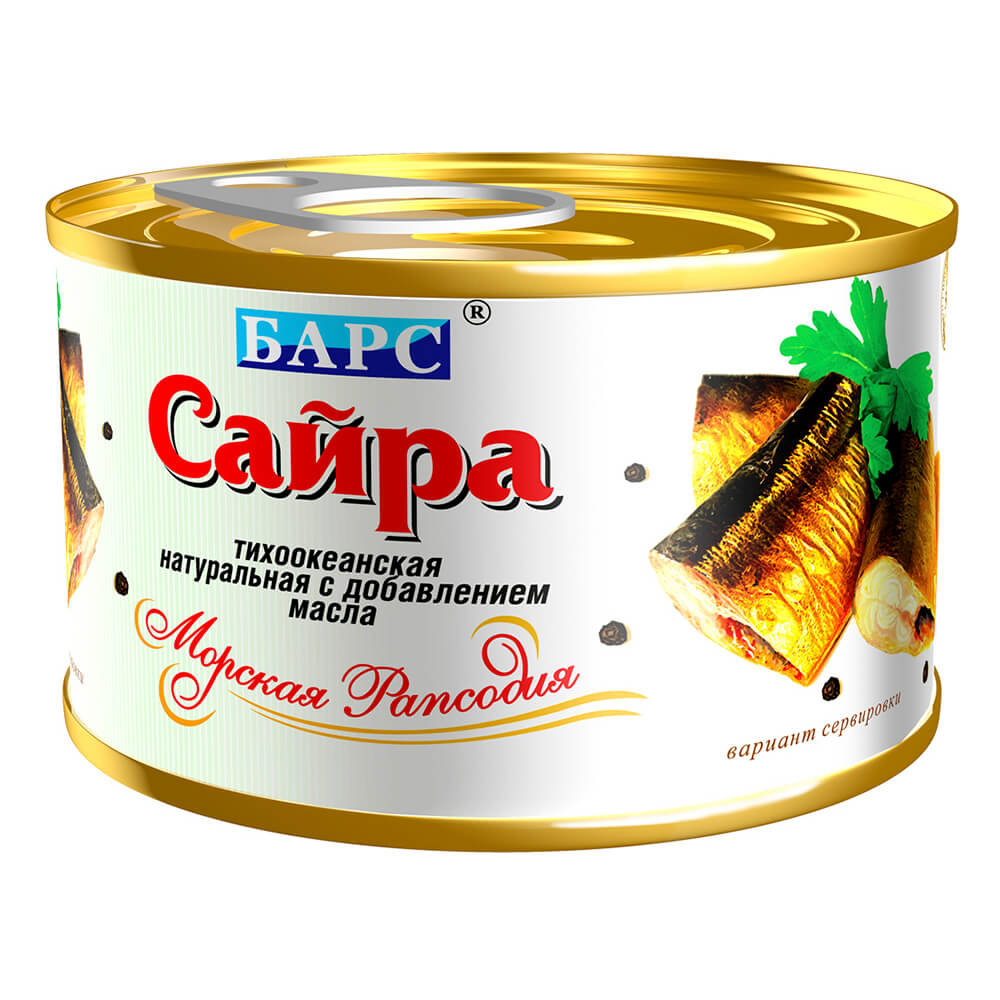 Сайра Барс натуральная с добавлением масла 250г недорого