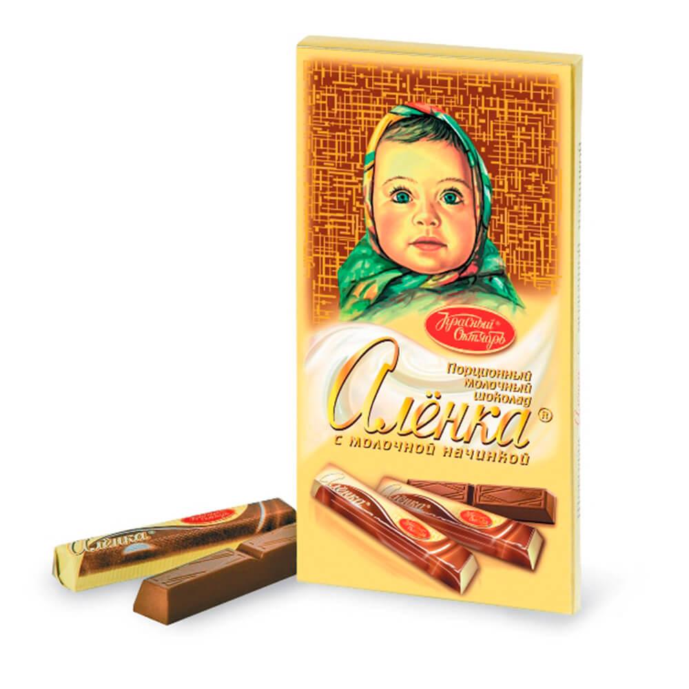 шоколад алёнка молочный порционный с молочной начинкой 100 г Шоколад Аленка с молочной начинкой порционный Красный Октябрь 100г