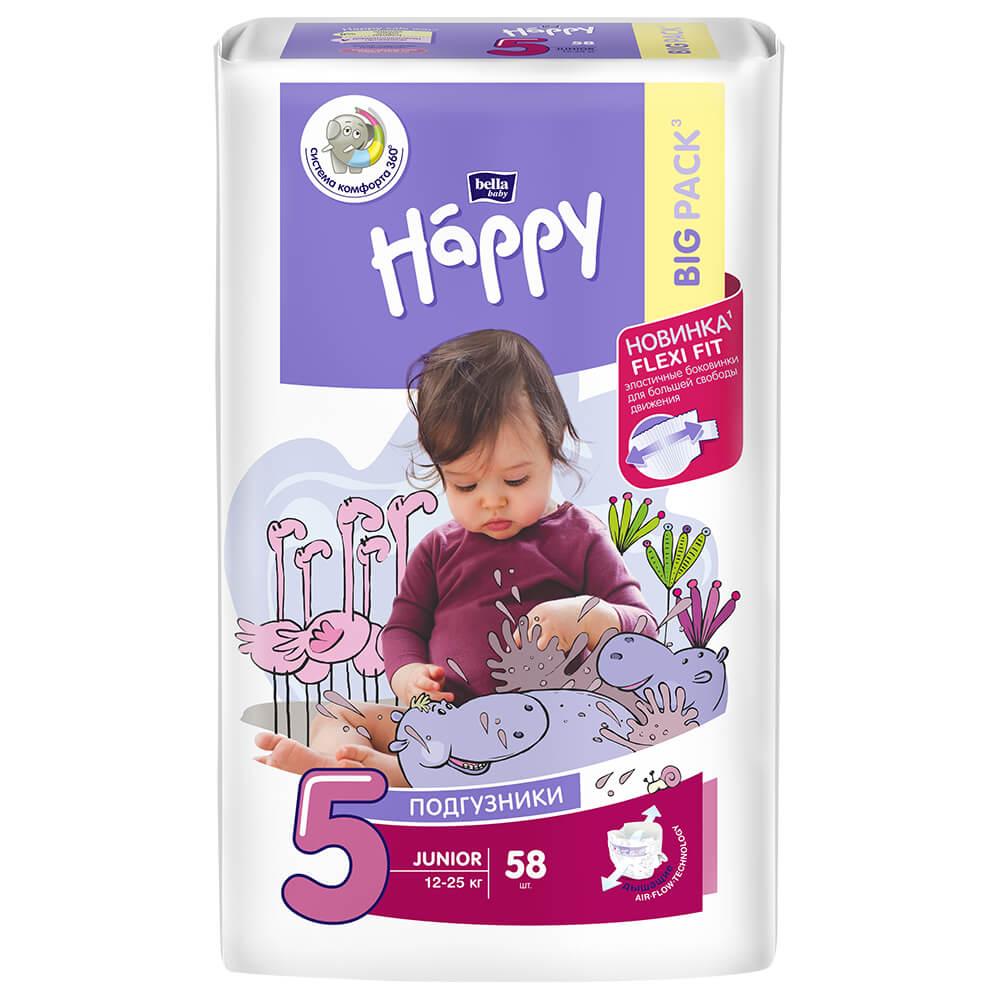 Подгузники Bella Baby Happy 58шт уни Junior 12-25кг