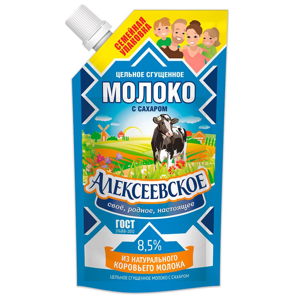 Молоко сгущенное цельное Алексеевка с сахаром 650г Doy-Pack алексеевское бзмж молоко сгущенное с сахаром алексеевское
