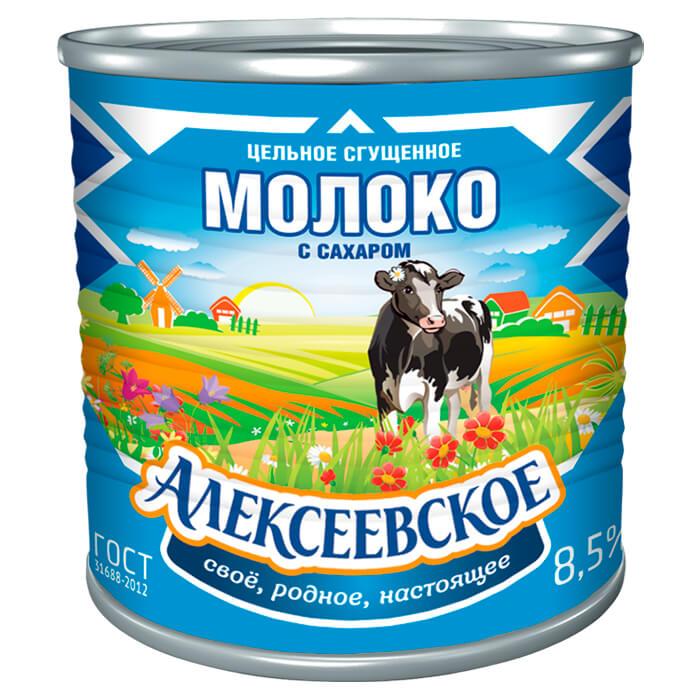 Молоко сгущенное цельное с сахаром Алексеевское 380г алексеевское бзмж молоко сгущенное с сахаром алексеевское