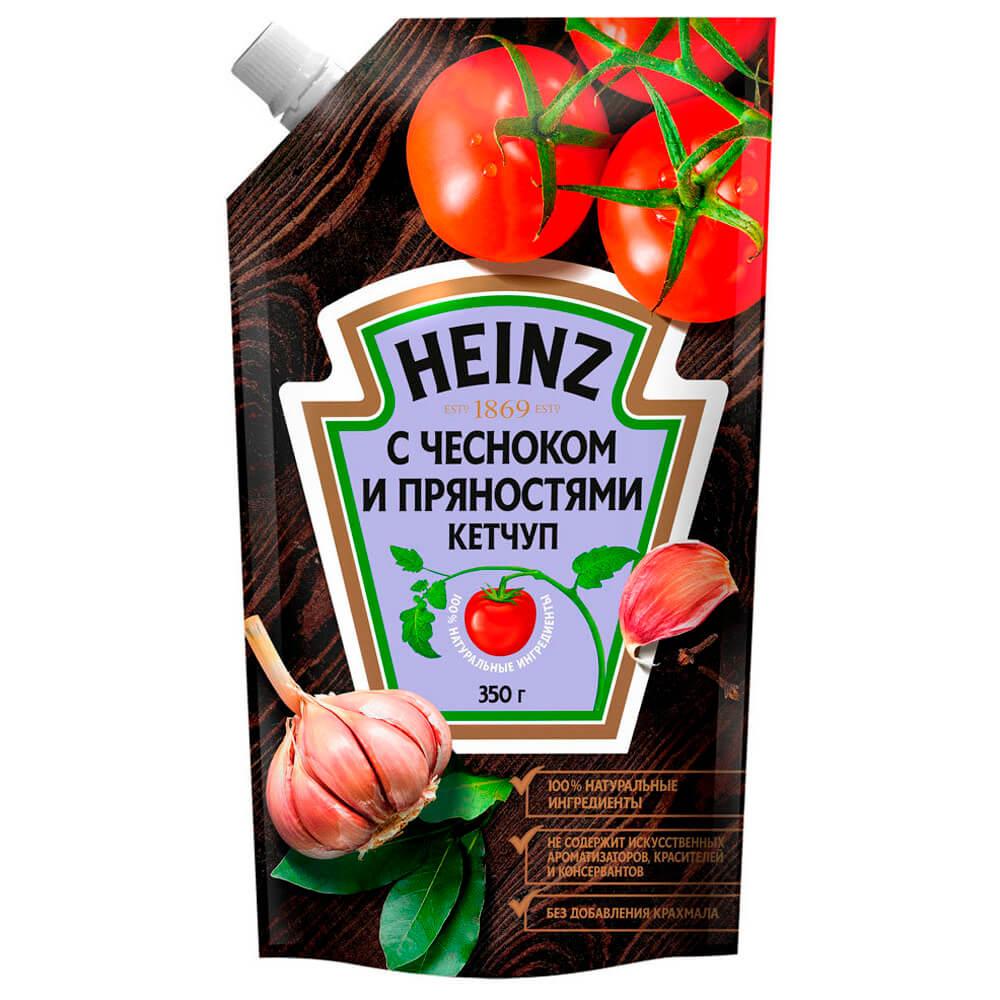 Кетчуп Heinz 350г с чесноком и пряностями дой-пак