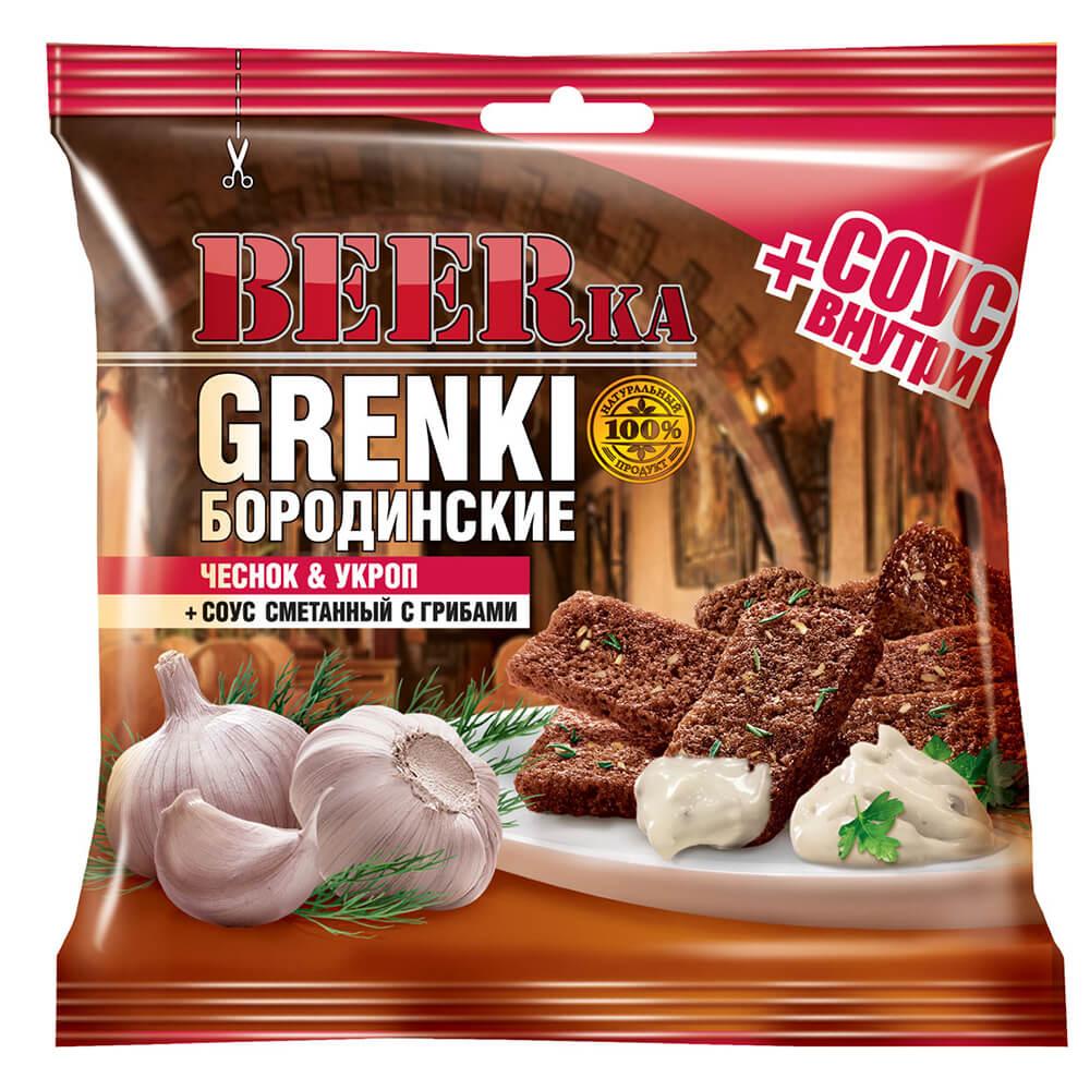 Гренки BEERка 60г бородинские чеснок и укроп с соусом