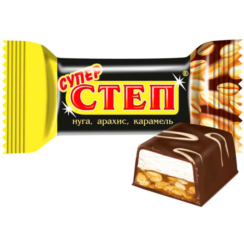Конфеты супер степ глазированные нуга, арахис, карамель Славянка конфеты славянка фарс шоколадная нуга с желе и шариками пакет 1 кг