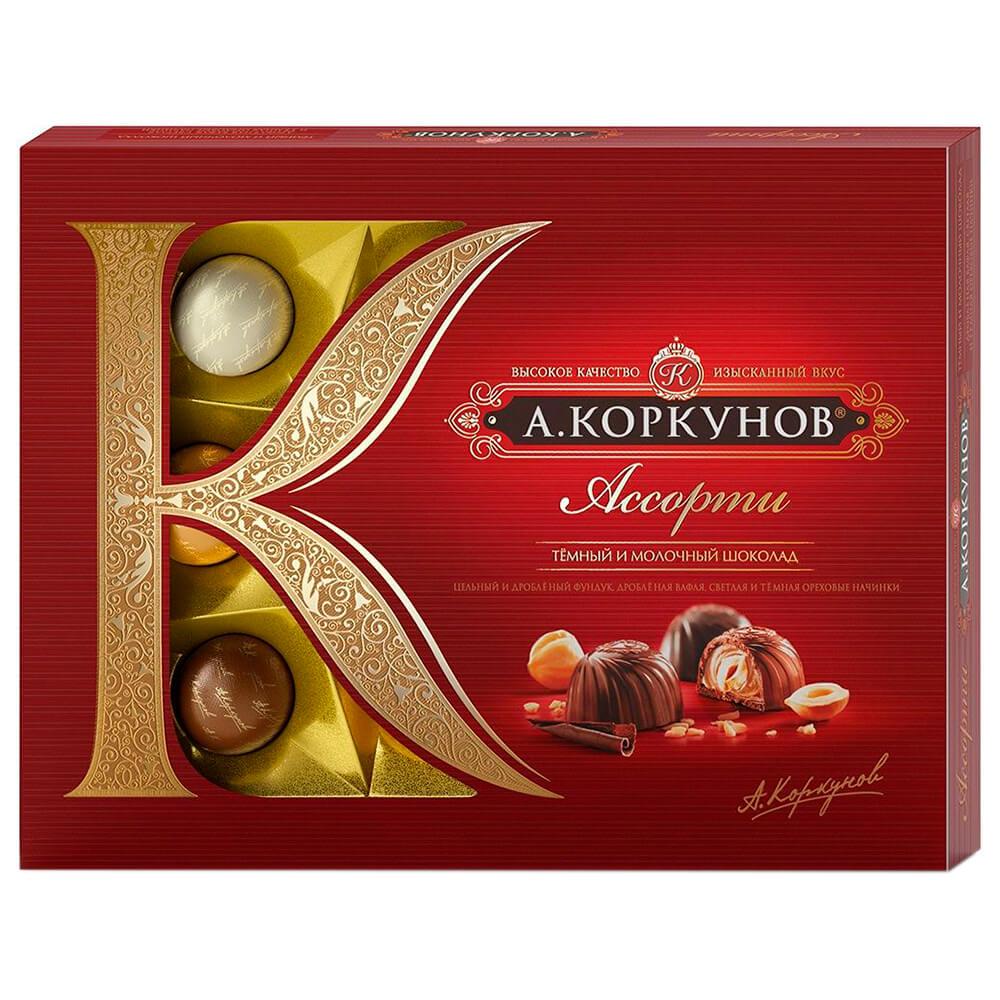 Конфеты Коркунов ассорти 110г темный и молочный шоколад Одинцовская КФ