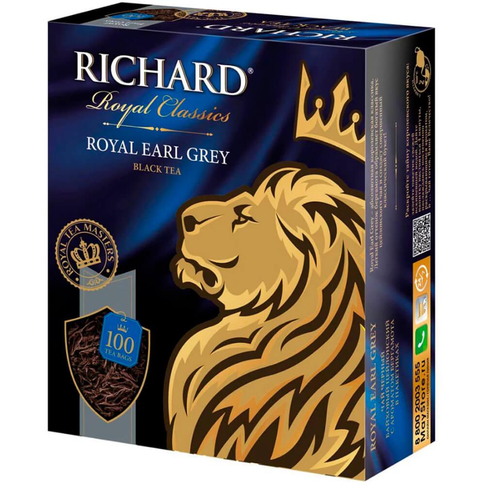 Чай чёрный RICHARD Royal Classic ROYAL EARL GREY байховый цейлонский с ароматом бергамота 100шт