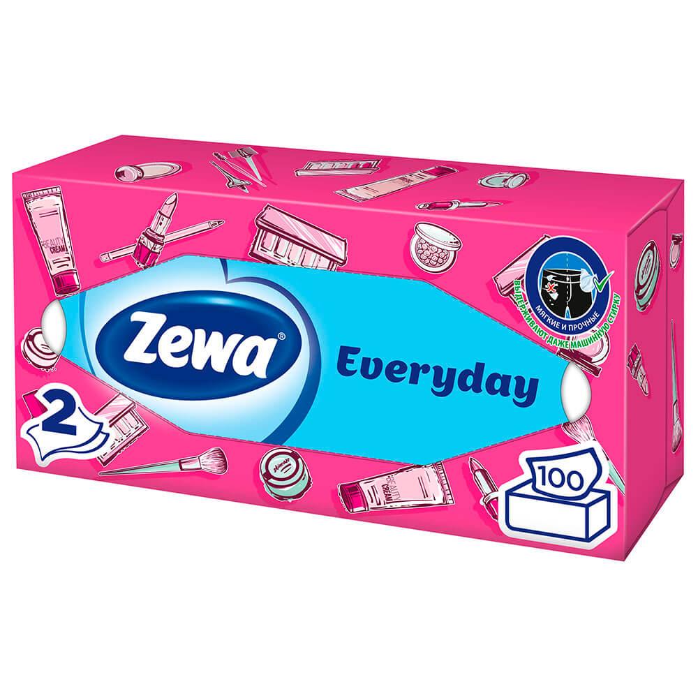 Салфетки Бумажные Косметические Zewa Everyday, 2 слоя, 100 шт