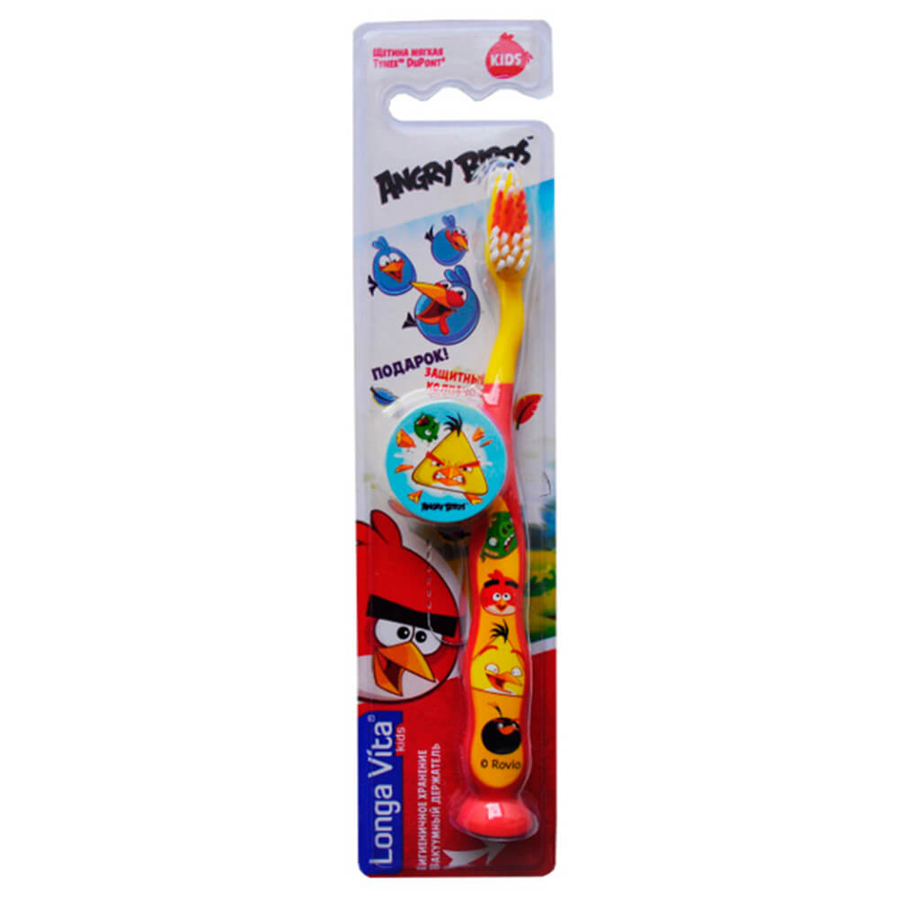 Зубная щетка Angry Birds с защитным колпачком от 5лет супермягкая детская зубная щетка 5 longa vita angry birds 1 мл