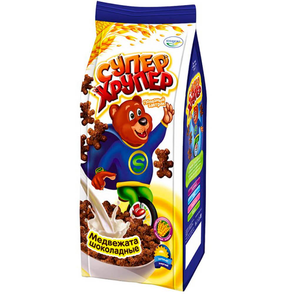 Фото - Готовый завтрак Супер-хрупер 200г шоколадные медвежата Кунцево пакет готовый завтрак хрутка шоколадные колечки пакет 210 г