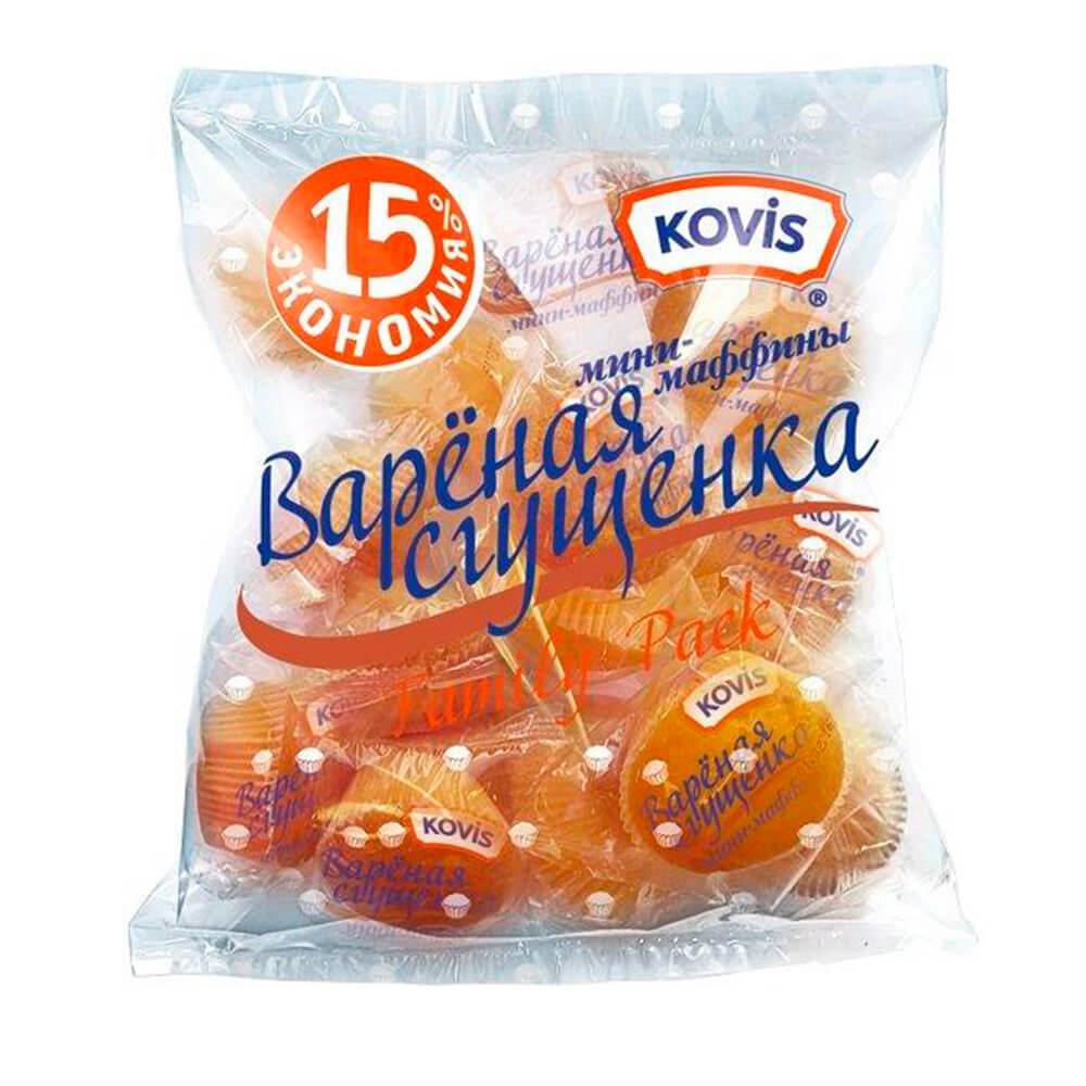 Мини-маффины Kovis 470г с начинкой вареная сгущенка Раменский КК