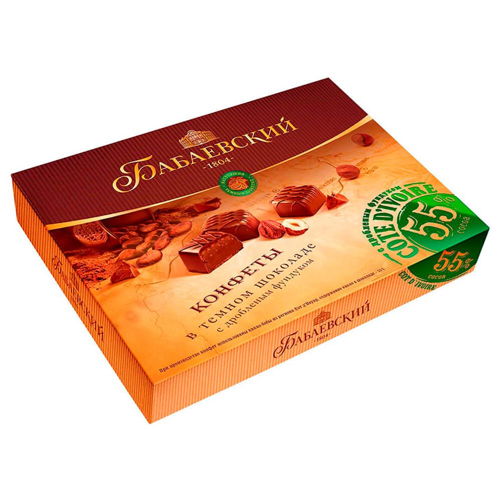 Конфеты Бабаевские 170г в темном шоколаде с дробленым фундуком Бабаевский