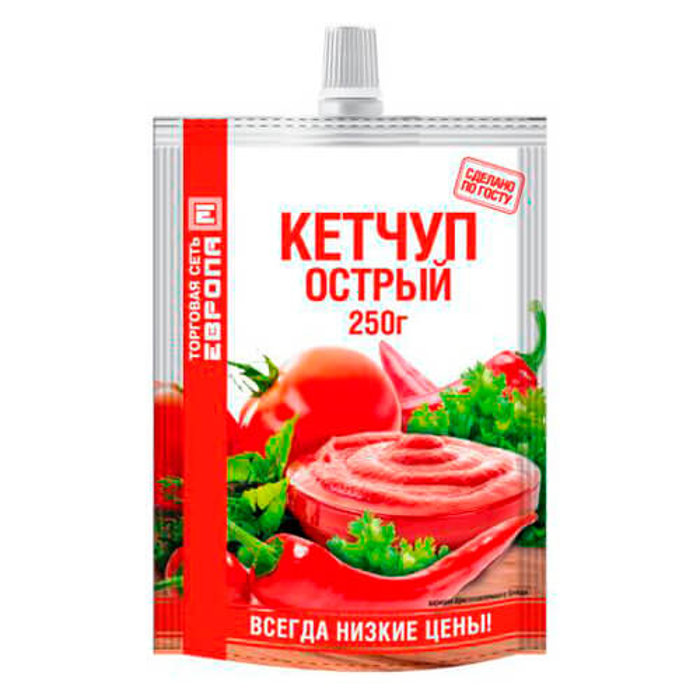 Кетчуп Европа 250г острый дой-пак гост