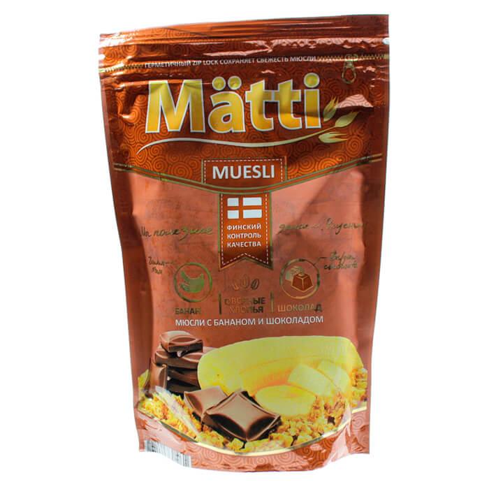 Фото - Мюсли Matti с бананом и шоколадом 250г дой-пак мюсли matti хлопья и шарики с бананом и шоколадом дой пак 250 г
