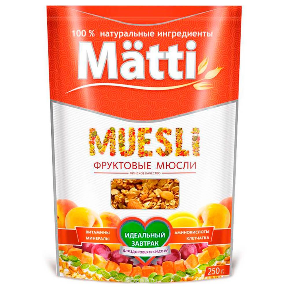 Мюсли Matti фруктовые 250г дой-пак