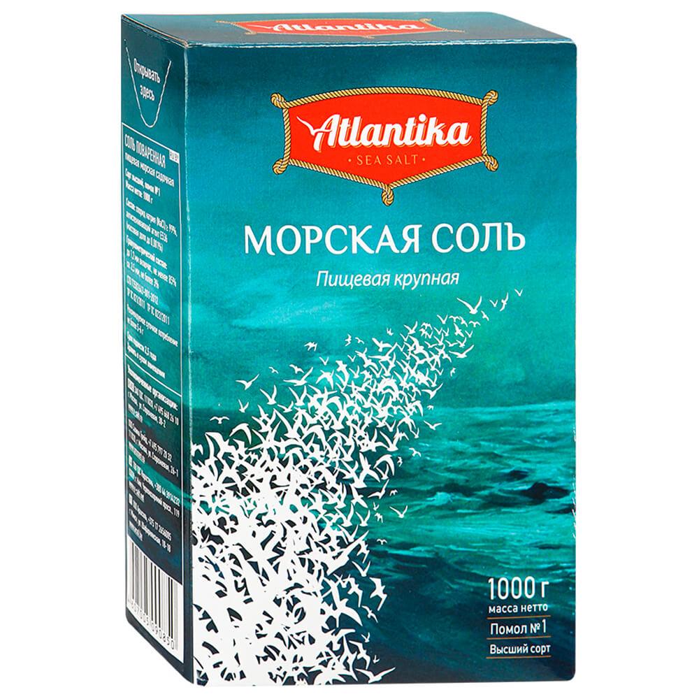 Соль Atlantika 1кг морская помол №1 к/пачка