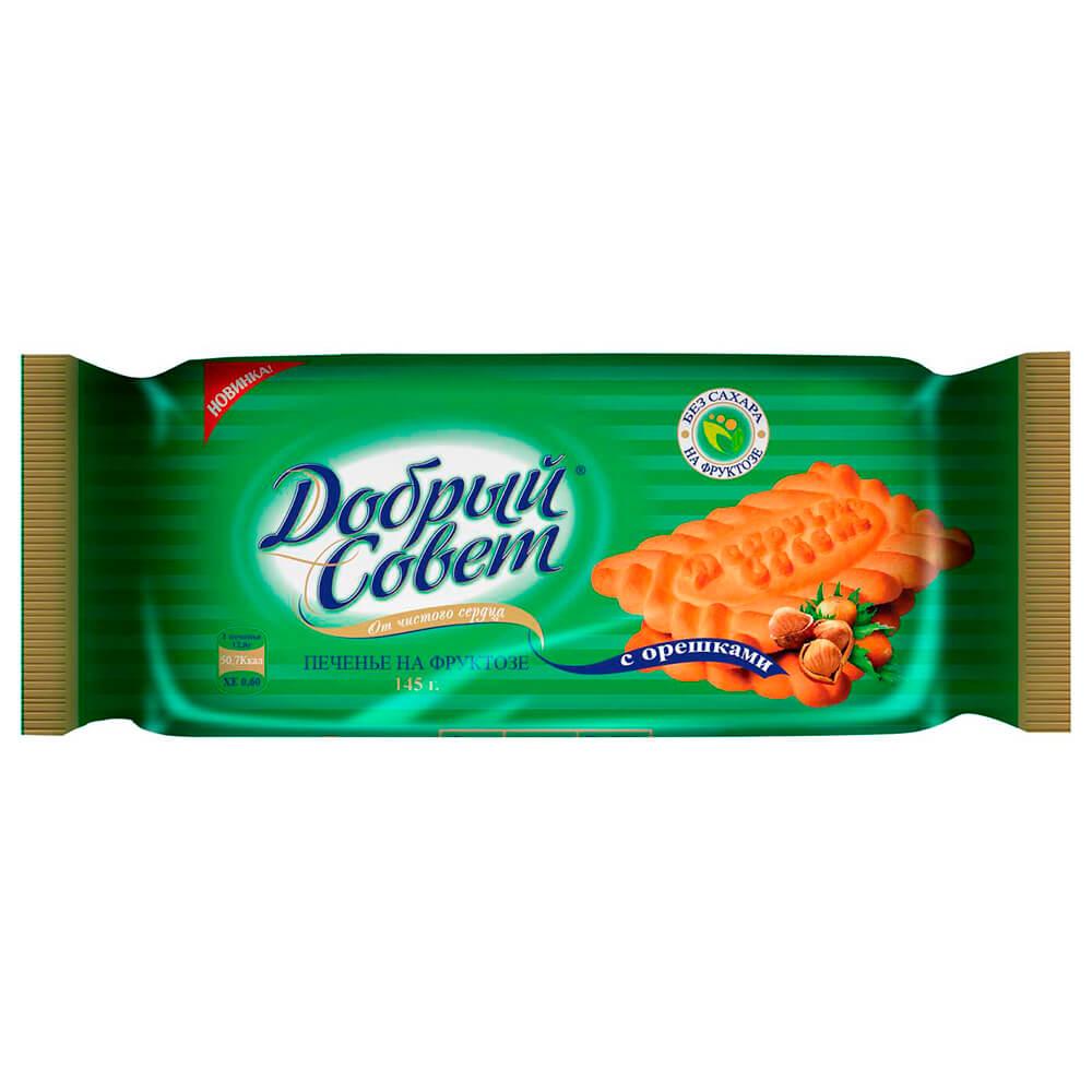 Печенье добрый совет с орешками на фруктозе 145г Воронежская КФ