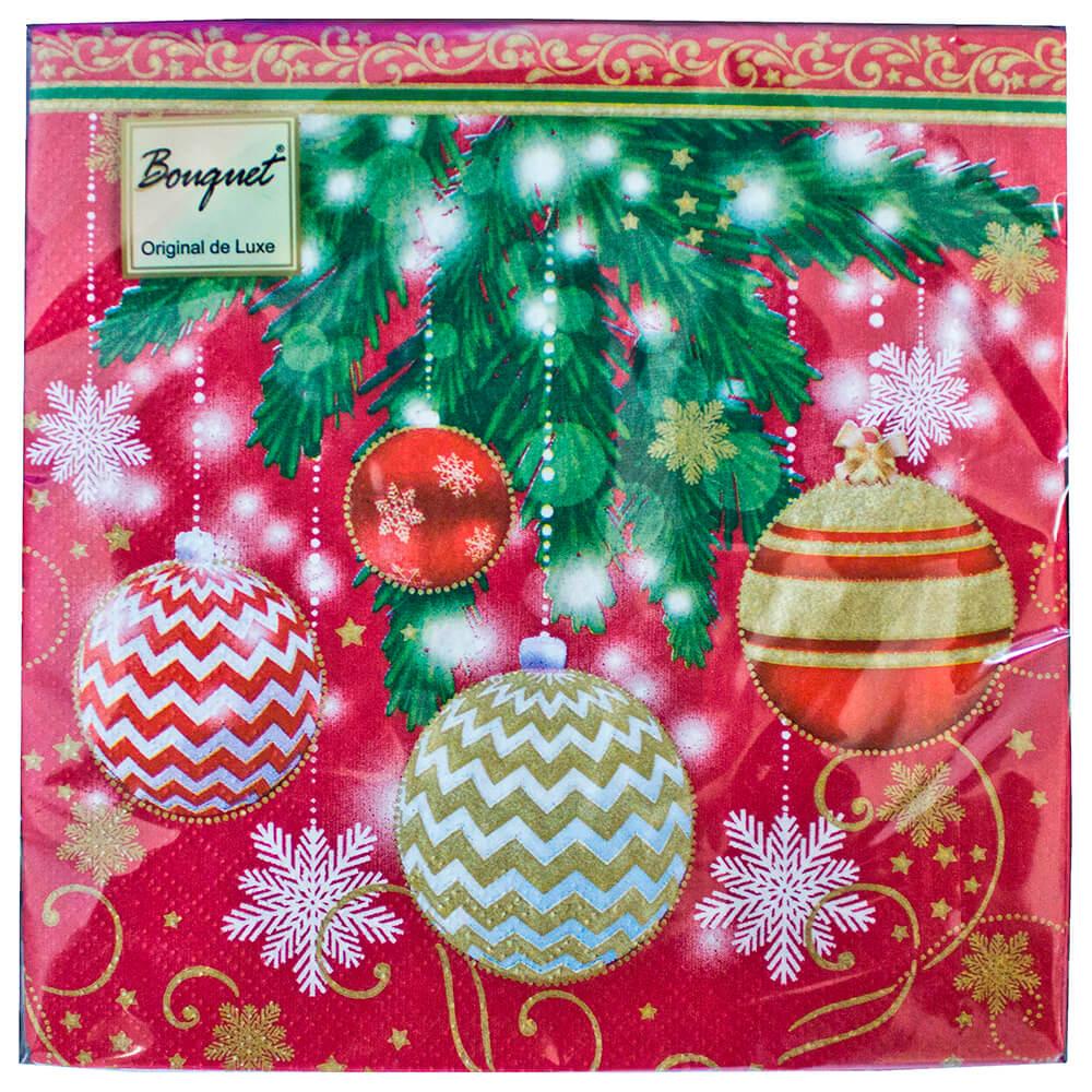 Салфетки Home Collection 20шт 33*33см 3 слоя новогодние шары 2 недорого