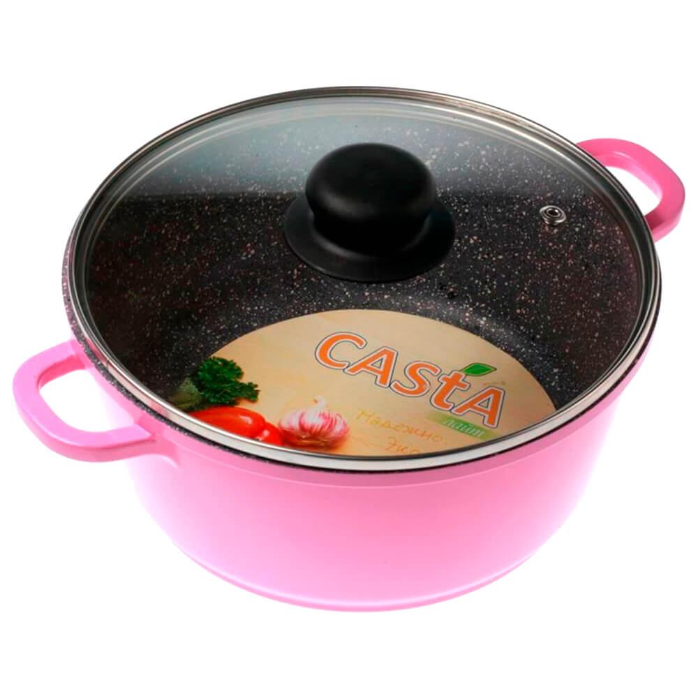 Кастрюля 2л Casta Color розовая литой алюминий кс-2-pn