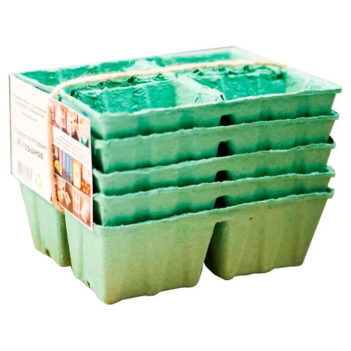 горшки Горшки бумажные для рассады 20шт 5 кассет биоразлагаемые
