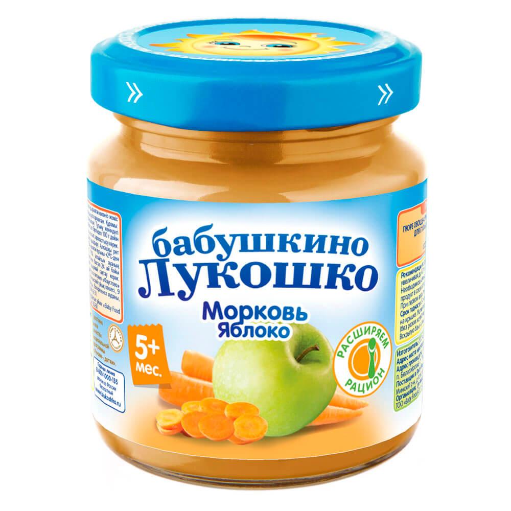 Пюре Бабушкино Лукошко 100г морковь яблоко с 5 месяцев
