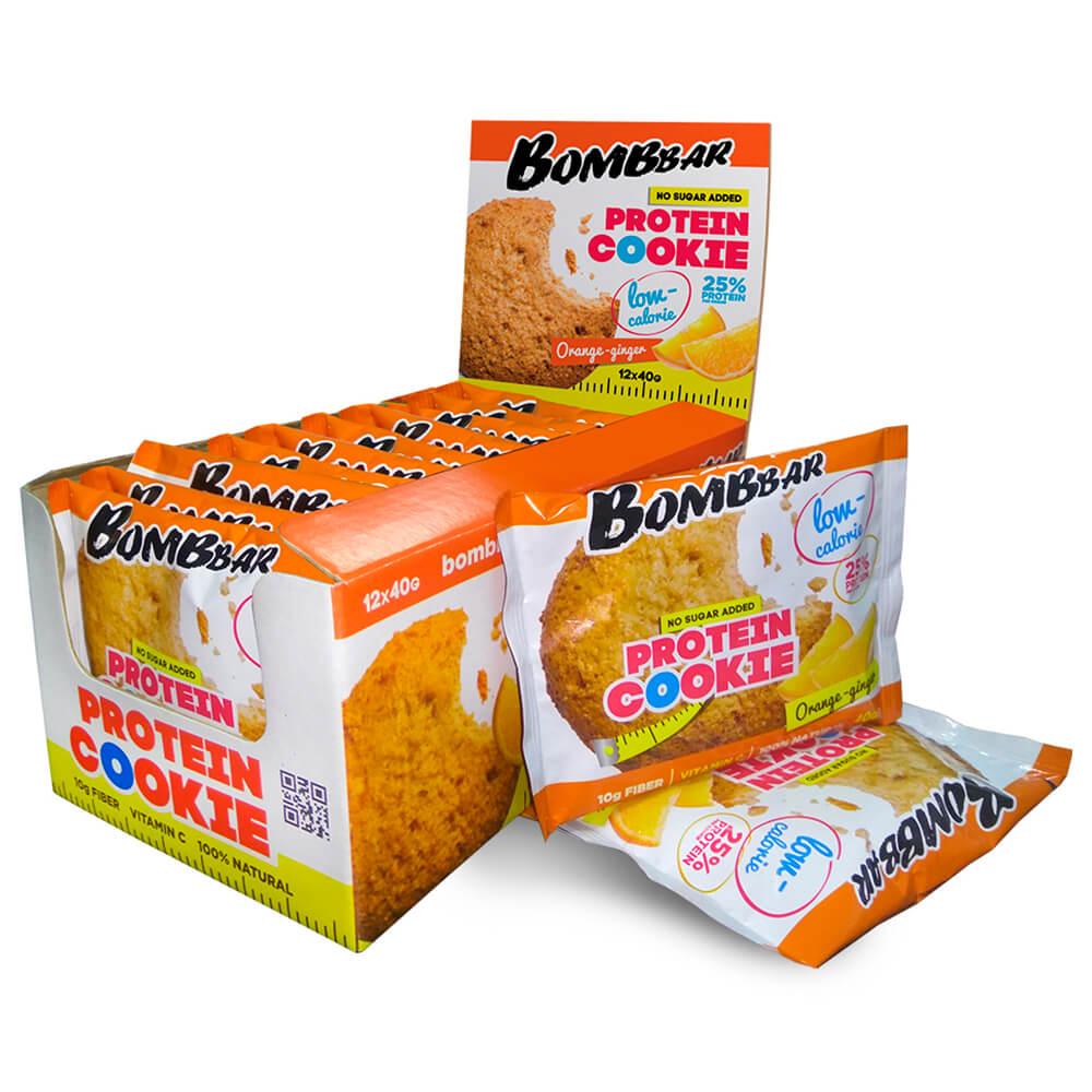 Печенье низкокалорийное протеиновое Bombbar 40гр апельсин имбирь