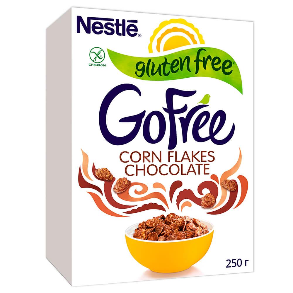 Фото - Готовый завтрак го фри 250г хлопья кукурузные шоколадные без глютена Nestle хлопья кукурузные nestle gold snow flakes 300 г