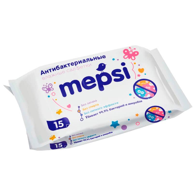 Фото - Салфетки влажные Mepsi 15шт антибактериальные очищающие салфетки влажные smile baby антибактериальные 15шт фиксики