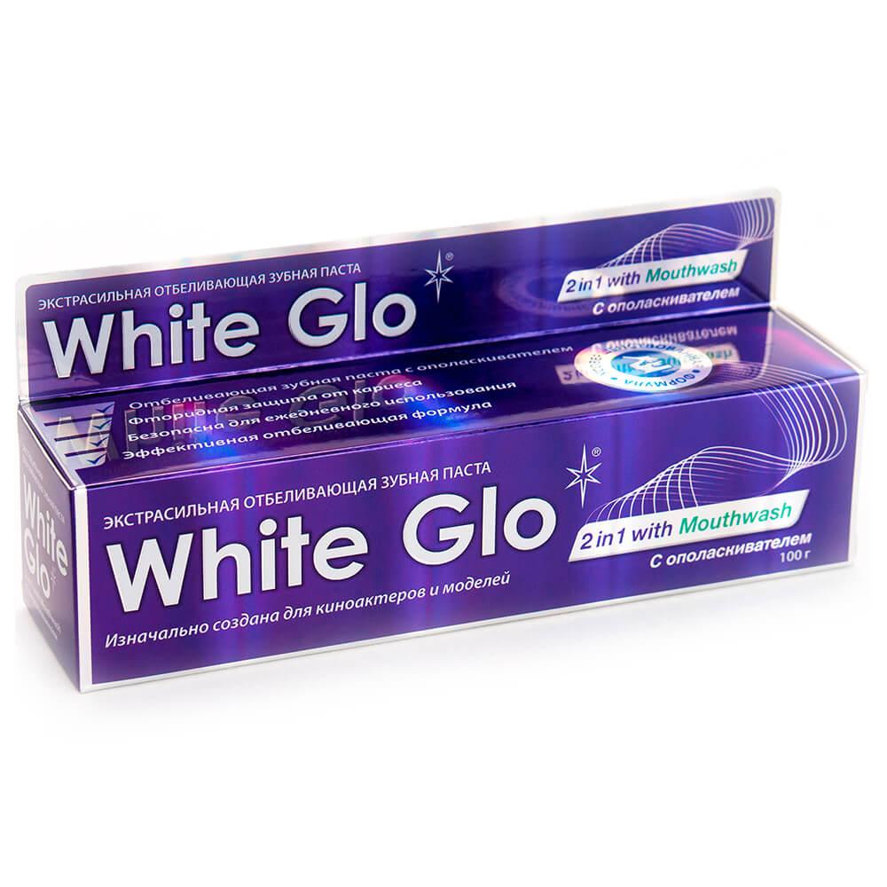 Зубная паста White Glo 16мл отбеливающая 2в1 с ополаскивателем