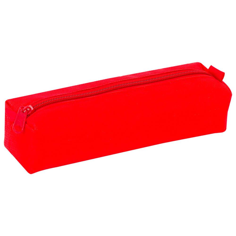 Пенал-тубус Пифагор на молнии красный 20*5см текстиль 104387