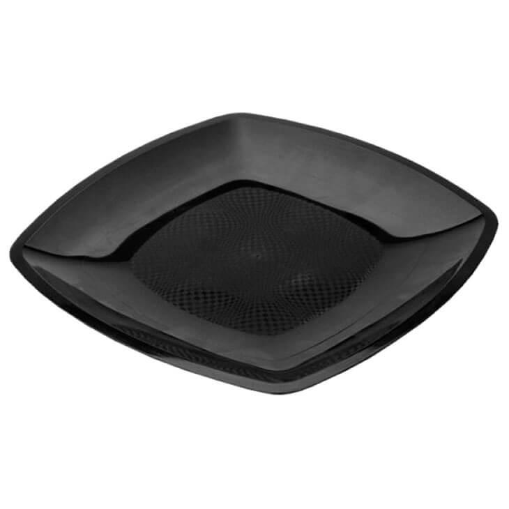 Тарелка Квадратная 17,2см 6шт плоская черная