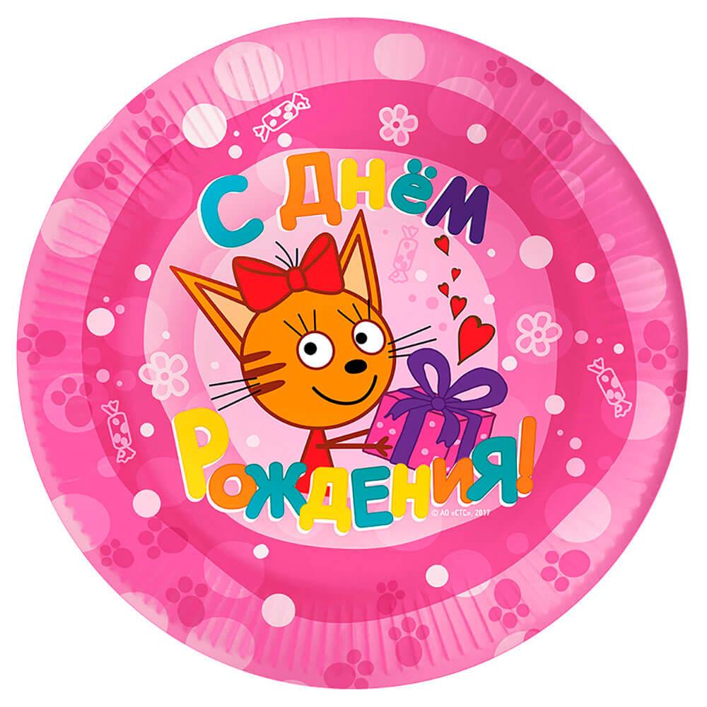 Тарелки три кота розовый 7/18см 6шт ковалева е три кота ресторан