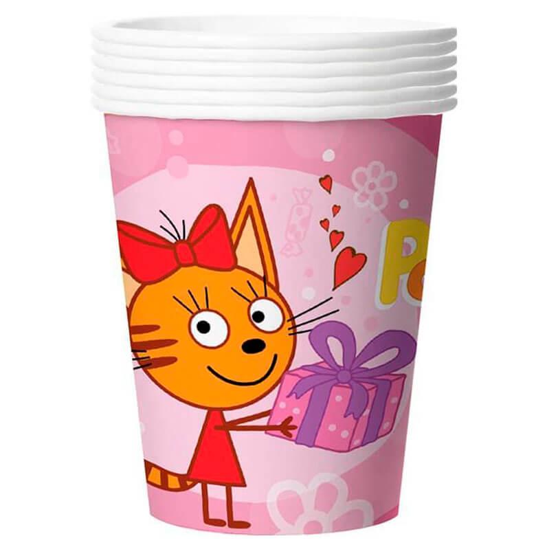 Фото - Стаканы три кота розовый 255мл 6шт тарелки три кота желтый 7 18см 6шт