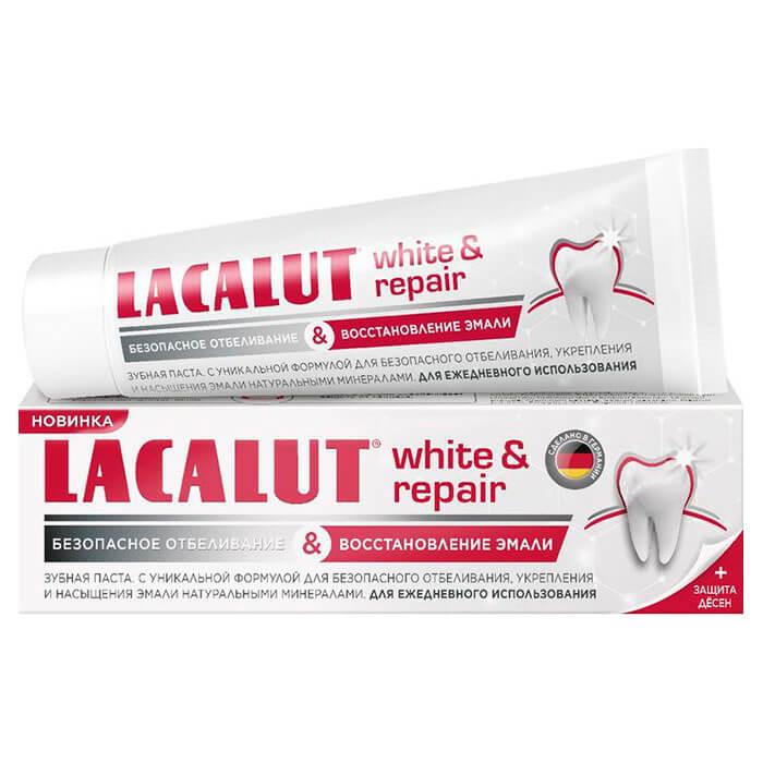 Зубная паста Lacalut 75мл уайт+репейр