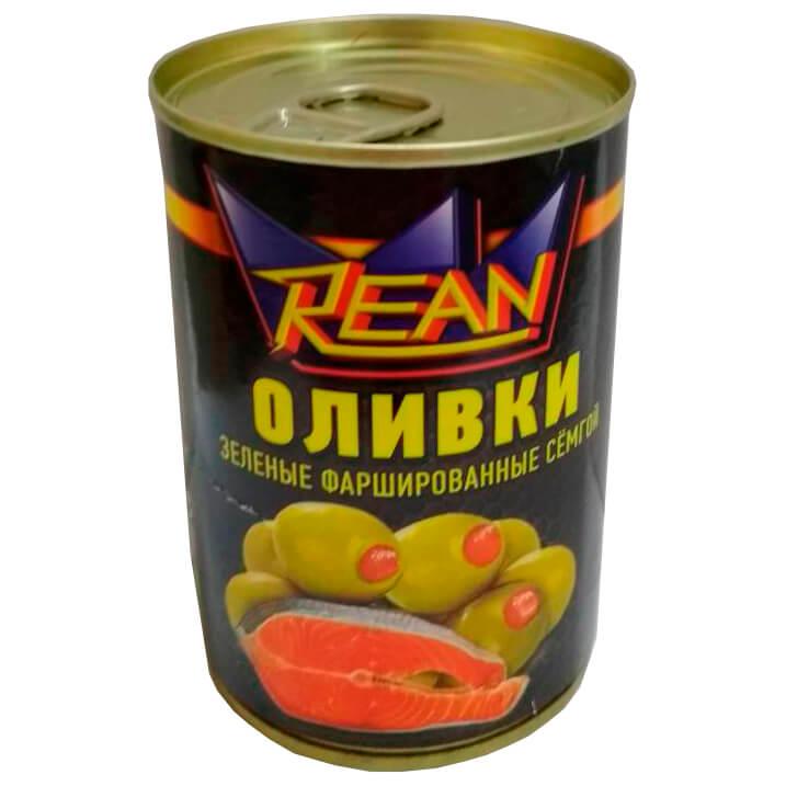 Оливки реан 280г с семгой ж/б