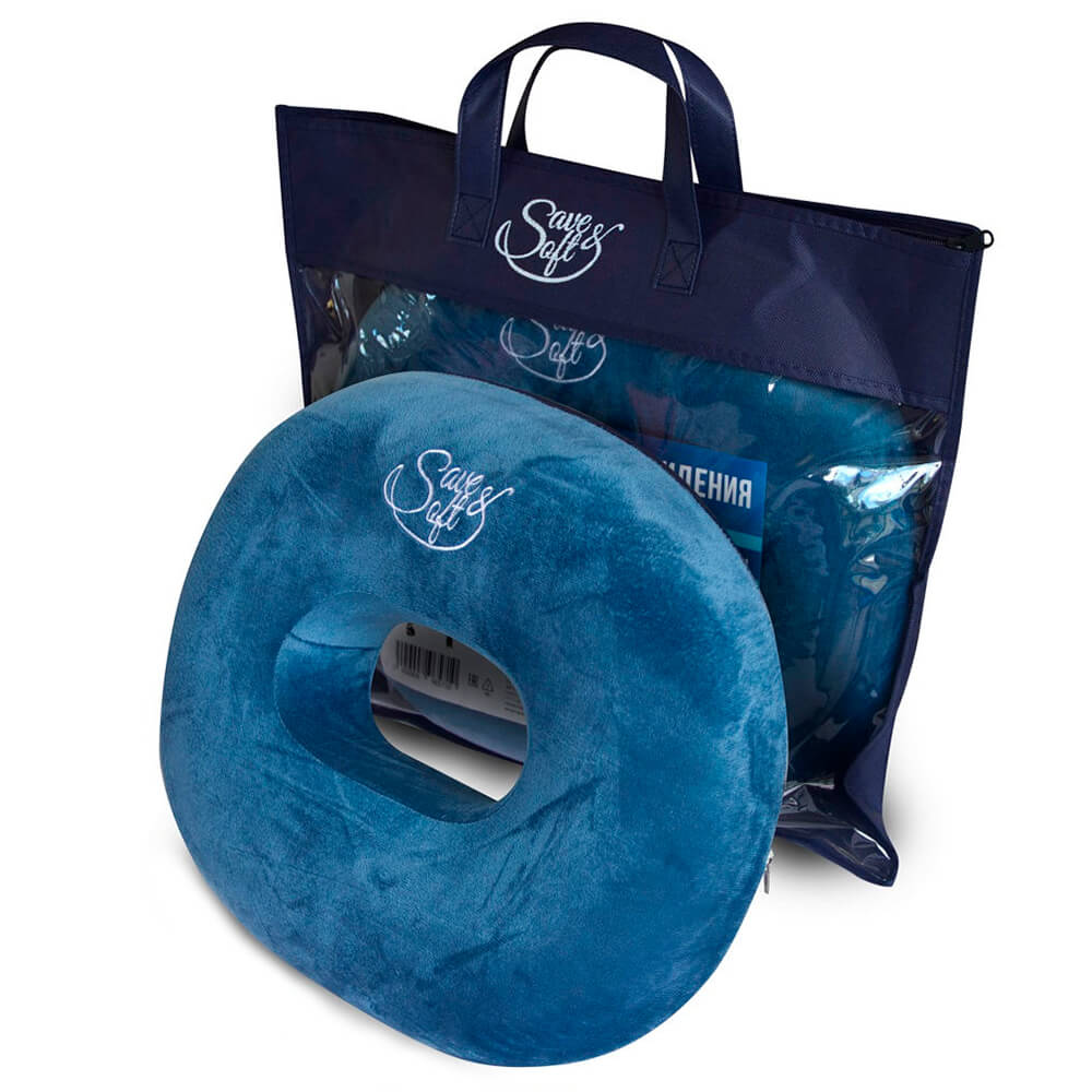 Подушка Save&Soft Orbita Blue для сидения бублик синий 45 *37*7см сумка из нетканного материала