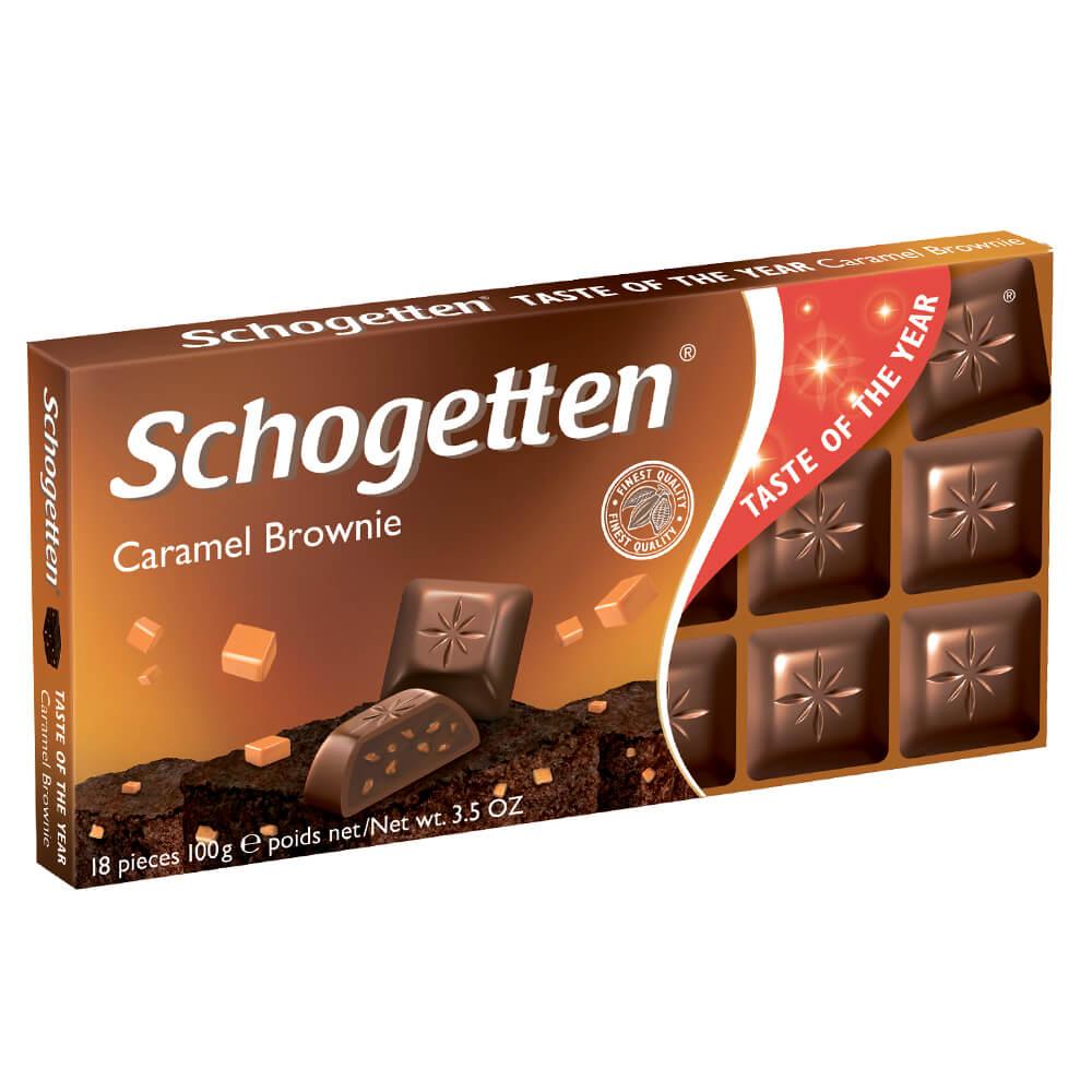 Шоколад Schogetten 100г молочный с начинкой шоколадный крем брауни с кусочками карамели