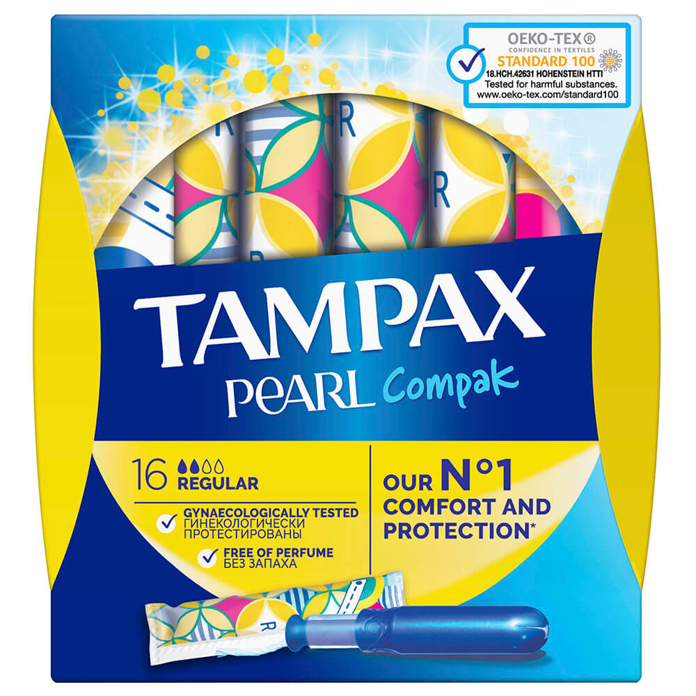 Тампоны Tampax 16шт перл компакт регуляр с аппликатором tampax тампоны компак с аппликатором регуляр 8 tampax compak