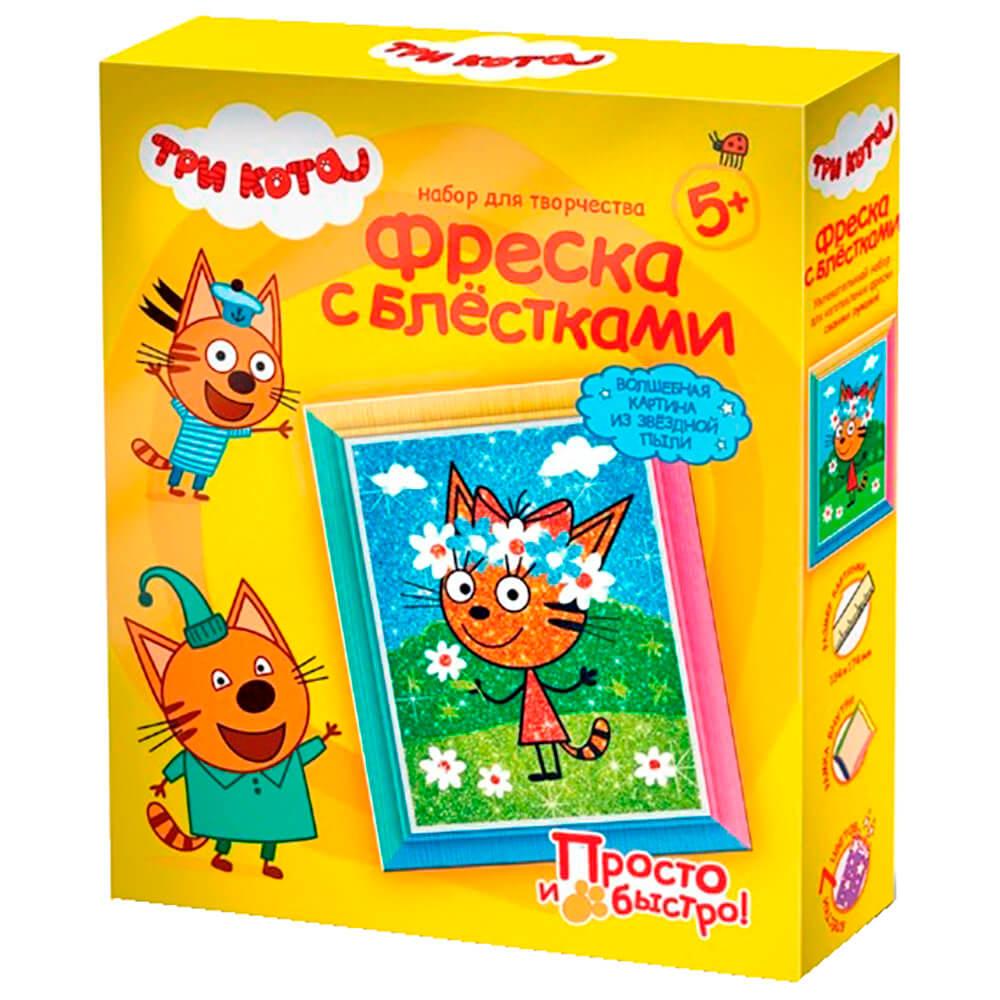 Набор для творчества три кота фреска с блестками карамелька лето 405135 набор для творчества фантазер три кота фреска с блестками лапочка лето