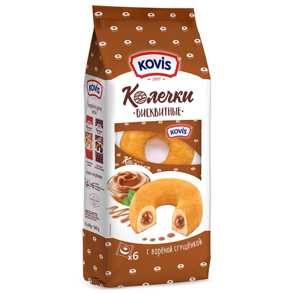 Пирожные бисквитные колечки Kovis 240г крем вареная сгущенка ркк