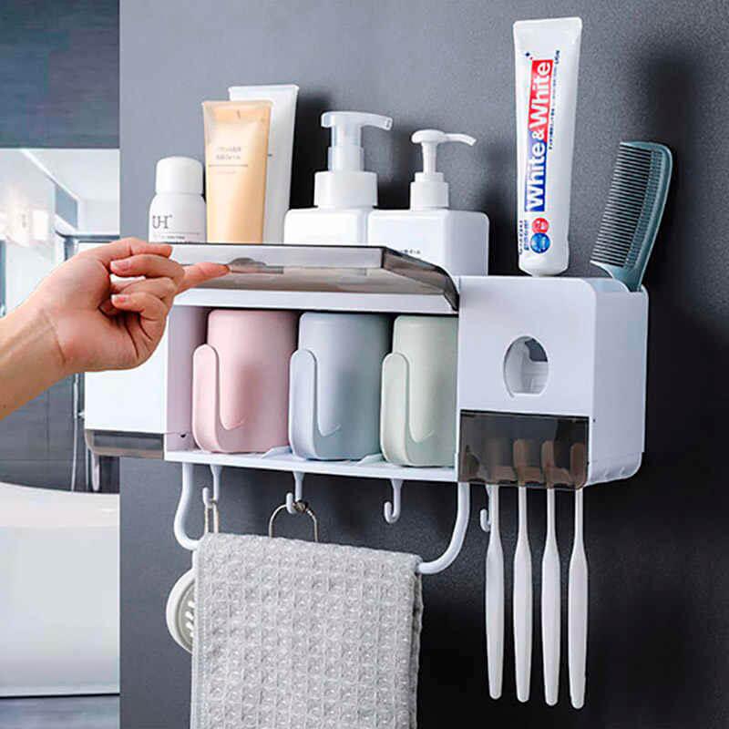 Полка–органайзер для ванной Ecoco с дозатором для зубной пасты 3 чашки