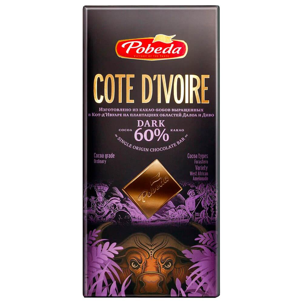 Шоколад Cote Divoire 100г 60% горький Победа