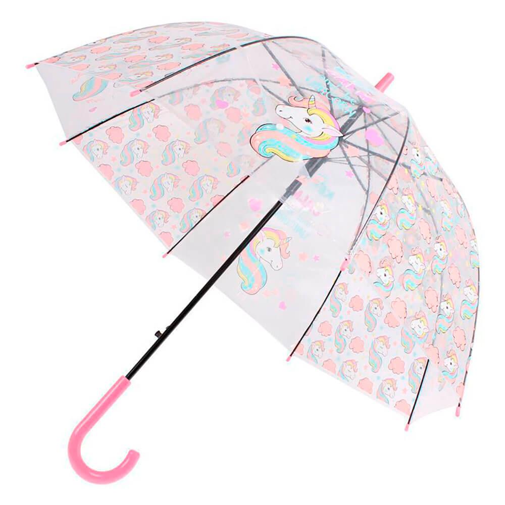 Зонт прозрачный Bradex Единорог розовый купол
