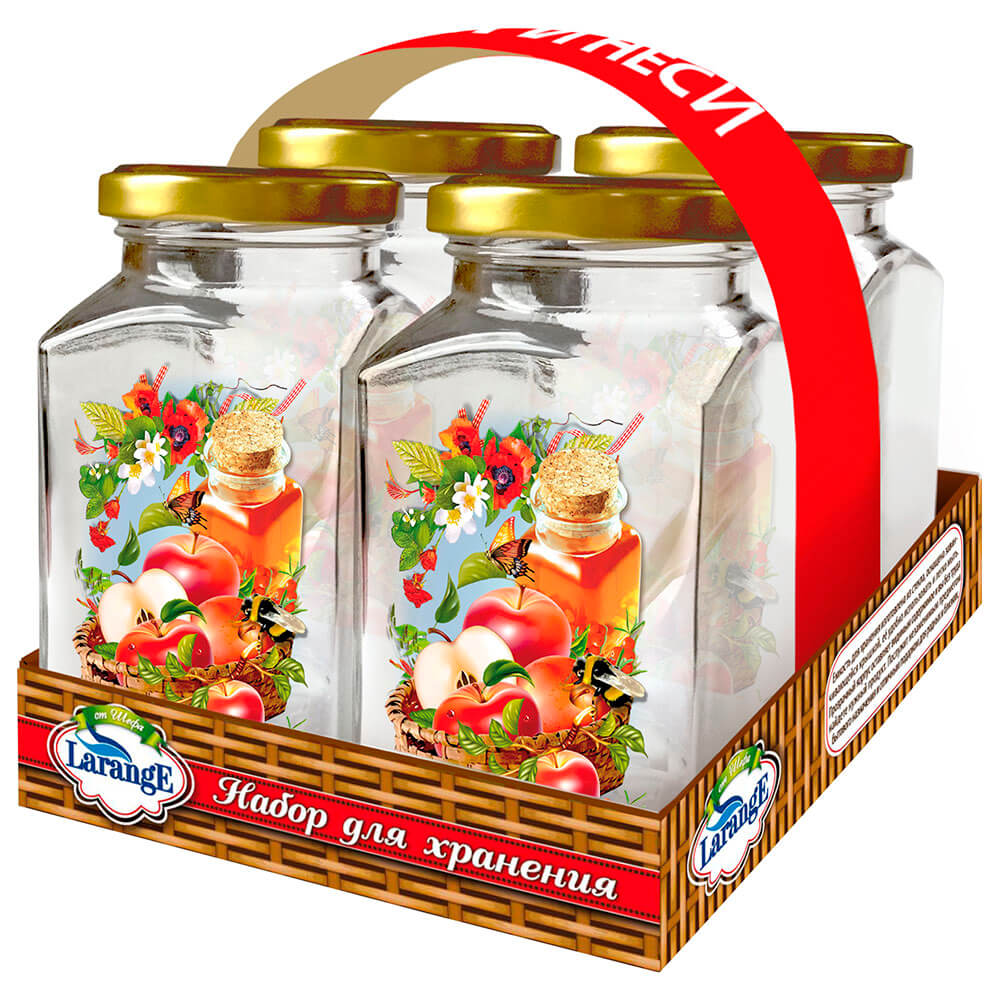 Фото - Набор банок для хранения 4шт 312мл Larange стекло 626-710 набор банок для специй larange 260 мл 4 шт
