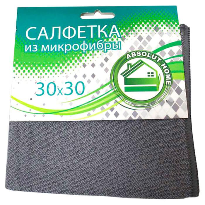 Салфетка 30*30см Absolut Home универсальная супервпитывающая микрофибра серый